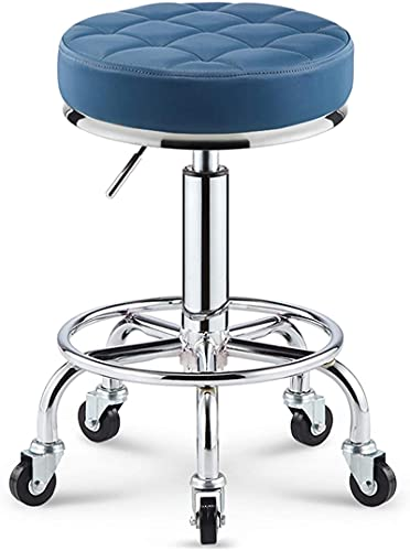 JYHQ Taburete de bar con reposapiés de piel sintética de altura ajustable, para spa, taller, tatuaje, trabajo giratorio, silla de tarea, azul (color: gris) (color: azul)