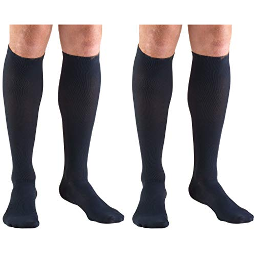 Truform Compression 30-40 mmHg Knee High Dress Style Socks Navy, Large, 2 Count