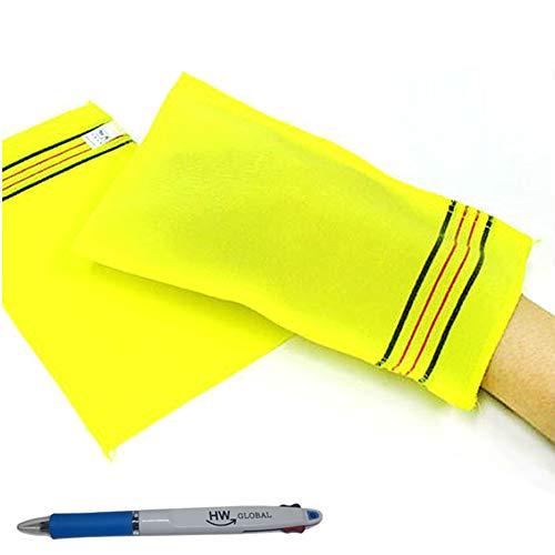 (10 Pack) Songwol Korean Beauty Skin große Peeling-Handschuhe Badetuch Scrub Kleider Waschen - Made in Korea Gelb