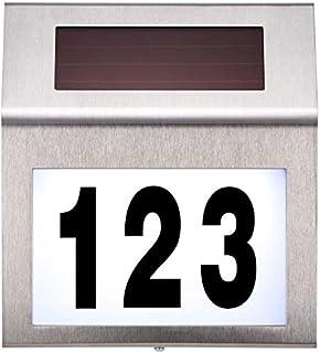 مصباح رقم المنزل، مصباح ليد شمسي رقم الجدار من الفولاذ المقاوم للصدأ منزل رقم أضواء مضادة للماء