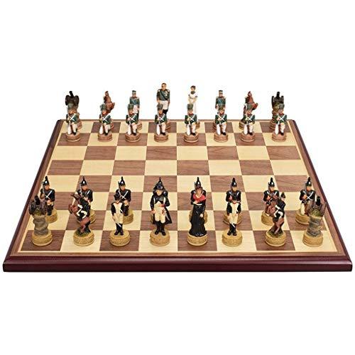 Juegos de tablero de ajedrez de viaje portátiles Tablero de ajedrez de madera Niños Desarrollo intelectual Aprender Juguetes Simulación Carácter Resina Pieza de ajedrez Almacenamiento Damas Ajedrez Ju