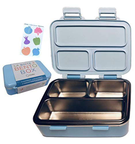 Stainless Steel Lunch-Box for Kids or Babies | Toddler Lunch Containers | Metal MINI Bento Box with Leakproof Compartments | Eco-Friendly | Best for Small Boys Girls, Pre-School | BPA Free, Blue