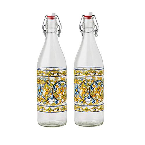 Set di 2 Bottiglie Acqua di Vetro da tavola decorata con tappo ermetico Sicilia MADE IN ITALY capienza 1l