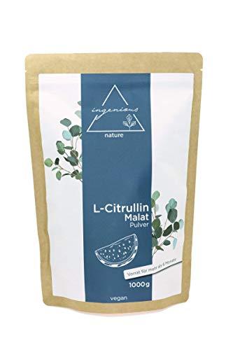ingenious nature® L-Citrullin Malat 2:1 Pulver 1000g Pack - vegan, hohe Reinheit, abgefüllt in Deutschland, Vorrat für bis zu 6 Monate