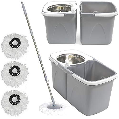 Gr8 Home Grey Space Saving 360° Dual Duo Floor Spin Mop Dispenser Bucket...
