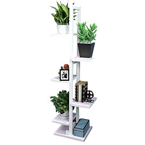 YLCJ Opbergkast, boekenkast met 6 etages, staand rek voor bloempotten, afleidplaat, houten - en stalen frame - 30 x 30 x 131 cm (kleur: notenhout licht, grootte: wit frame)