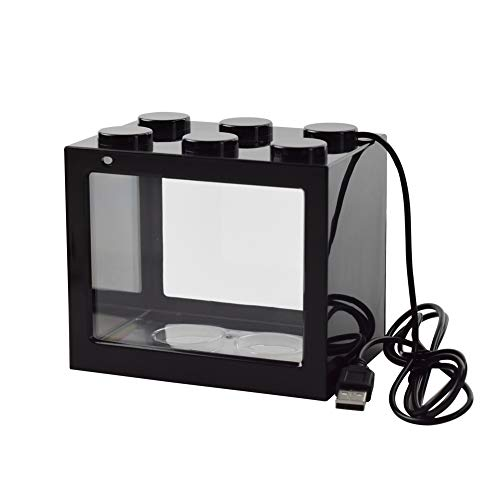 OMEM USB-Mini-Fischtank, Desktop-Mikro-Landschaft, LED-Fischtank, Aquarium-Kit, Bausteine, überlagerte Fischtank (schwarz)