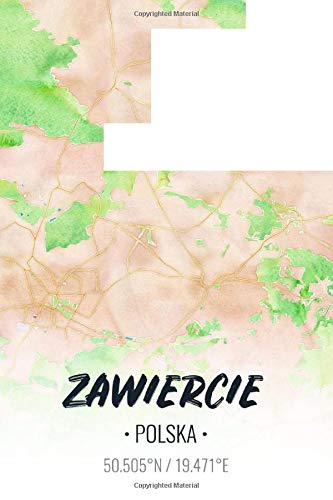 Zawiercie Polska: City Map Notebook for Travelers, Diary Writing Subject Memo Book Planner with Lined Paper, 6x9 Inches, College Ruled | 100 Pages