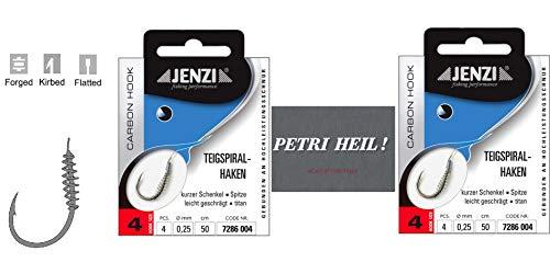 .Jenzi-set: 2 verpakkingen deegspiraalhaken forel-haken, deeghaken gebonden (8 stuks), haakmaat 4 + gratis Petri hell. Stickers