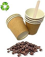 Palucart 500 Bicchieri in Carta per Caffe 75ml Colore Avana biodegradabili cartoncino per Bevande Calde Cappuccino caffè + 500 Palette in Legno di Betulla