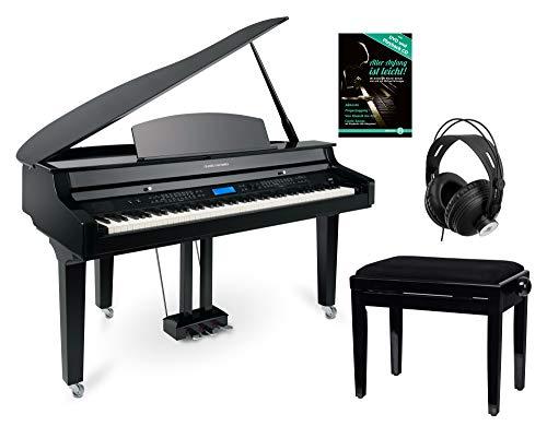 Classic Cantabile GP-A 810 Digitalflügel Set (88 Tasten mit Hammermechanik, 3-fach Sensorik, 1200 Voices, Bluetooth, inkl. Bank, Kopfhörer Schule) schwarz Hochglanz