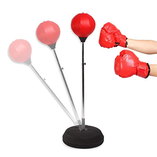 Boxsack Stehend Verstellbare Punchingball für Kinder Erwachsene Standboxsack Set für Jugend Speedball Boxtraining Standboxball mit Boxhandschuhen und Ständer Set, 120-150 cm, Rot