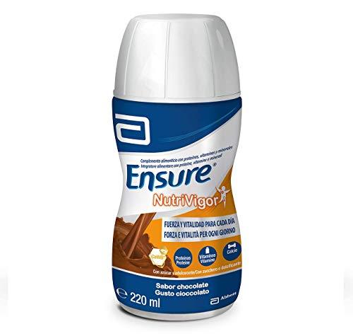 Ensure Nutrivigor - Complemento Alimenticio para Adultos, con HMB, Proteínas, Vitaminas y Minerales, como el Calcio - Sabor Chocolate - Pack de 4 Botellas x 220 ml