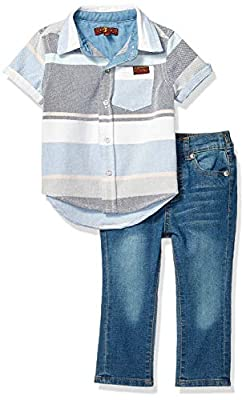 7 For All Mankind Baby Boys Sleeve Sport Shirt and Denim Short Set, Multi Stripes/Mdwash, 12M