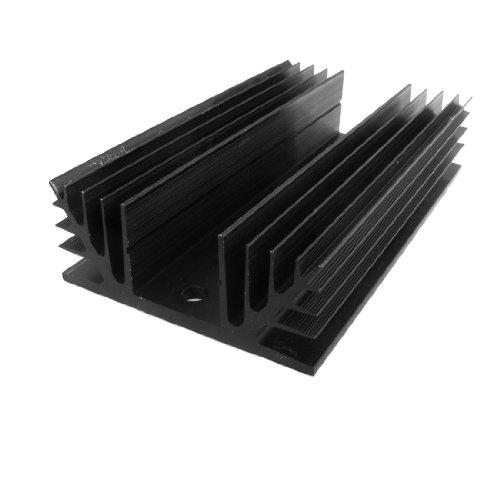 sourcing map Disipador de Calor de Aluminio Negro para relé de Estado sólido trifásico