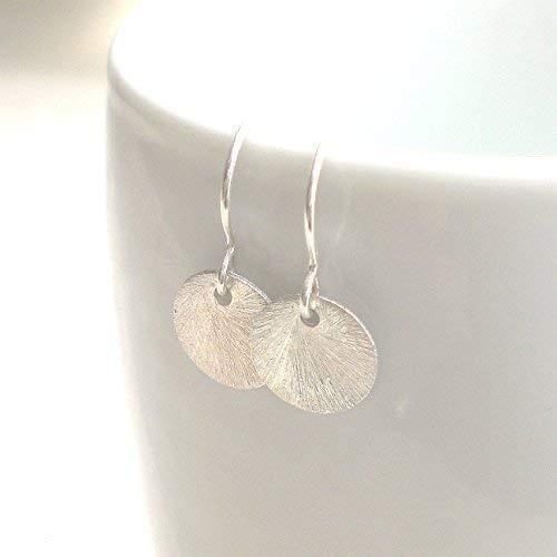 Kleine Ohrringe 925 Silber gebürstetes Silberplättchen 10mm, Ohrhänger Scheibe Dot (g842)