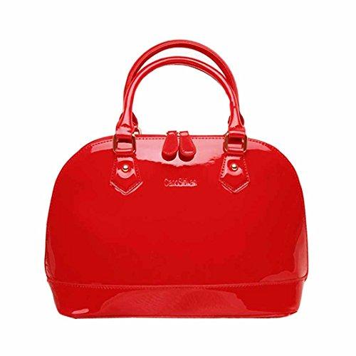AiSi Damen Lack Leder Handtasche/Damenhandtasche/Schultertasche/Henkeltasche mit Reißverschluss Rot