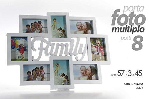 Gicos Portafoto Porta Foto Cornice Multiplo 8 posti Decoro Family Colore Bianco 57 x 3 x 45 cm MOG-766053, Unica