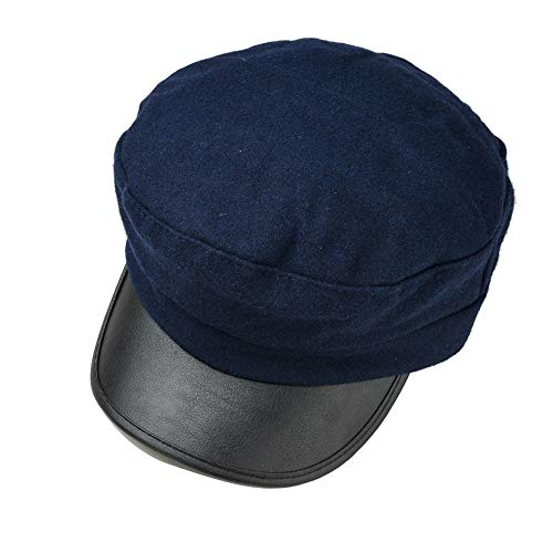 YASE-king Mode Britische Retro Flat-Top Navy Hut Herbst und Winter Wildleder Mode Wild Cap Lederjacke Bere Zeitungsjunge Baskenmütze Cap (Color : Blue, Size : 56-58CM)