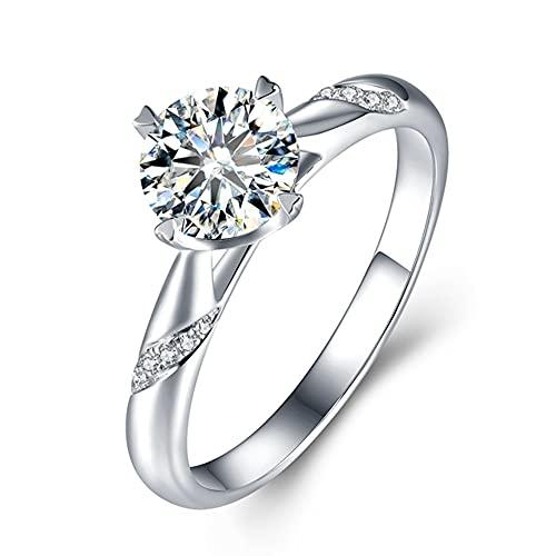 YANGYUE Plata Maciza 0.5-3Ct Diamante cultivado en Laboratorio Moissanites 4 Puntas Solitario con Acentos Anillo de Compromiso