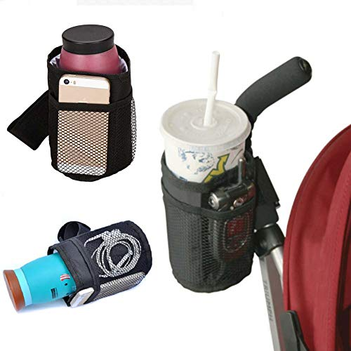 Homieco Insulated Cup Holder Multifunctional Sport Bottle Organizer Drink Cup with Storage mesh Pockets for Baby Stroller, Wheelchairs, Bike, car Seats, Booster Seats