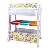 Zwei Arten praktischer Wickeltisch für Babys, Massagepflegetisch, Badestation, mit abschließbaren Rädern, Aufbewahrungskorb