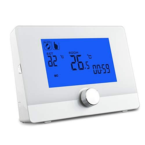 Huachaoxiang Termostato, Programable Digital para Termostato para Calentador De Calderas De Pared Controlador De Temperatura De Pantalla Inteligente,Blanco