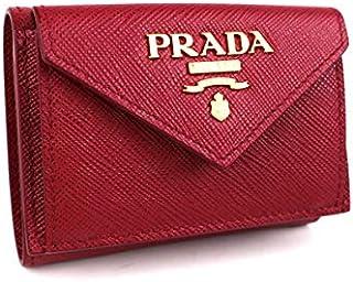 (プラダ) PRADA 三つ折り財布 ミニ財布 サフィアーノ 赤 j431 [中古]