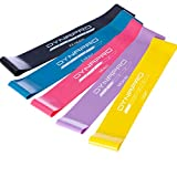 DYNAPRO Resistance Bands- Mini Precision Loop Exercise Bands with E-Quickstart Workout Guide Perfect for Any Home Fitness Training Program (Black-Blue-Pink-Purple-Yellow)