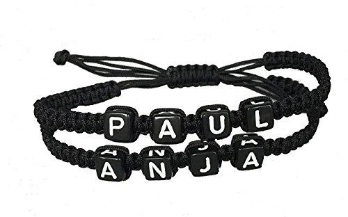 DIY Armband Familienarmband Partnerarmband mit 2 Wunschnamen Namen *Schwarz*
