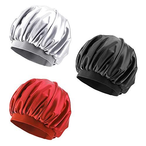 Satin Schlafmütze Zwini 3 Stücke Elastisch Breit Band Hut Nacht Schlaf Kopfbedeckung Nachtmütze Schlafmütze Haare schützen für Schlafbedarf