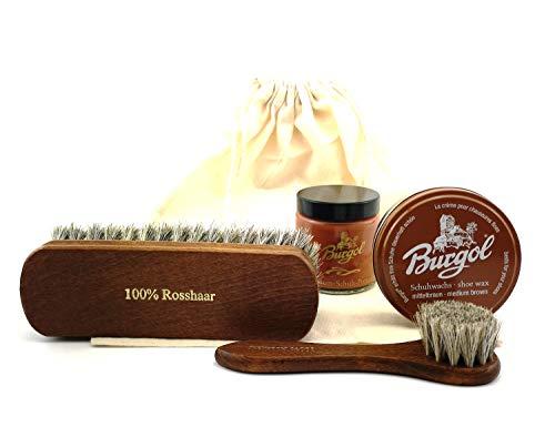 Burgol Schuhpflegeset Schuhwachs und Premium Schuhpomade Baumwollbeutel Eincremebürste und Rosshaarbürste: Farbe: Cognac