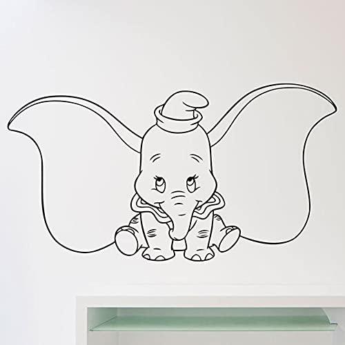 WERWN Dumbo Elefante Tatuajes de Pared Dibujos Animados Orejas Grandes Animal Vinilo Pegatinas de Pared Dormitorio de los niños guardería decoración de Arte Interior Lindo Mural
