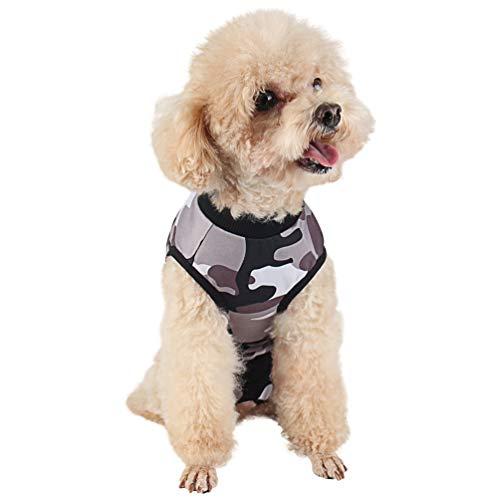Due Felice Dog - Traje profesional de recuperación quirúrgica para heridas abdominales de la piel, después de la cirugía, E-Collar alternativo para perros, ropa para mascotas en el hogar, camuflaje/XL
