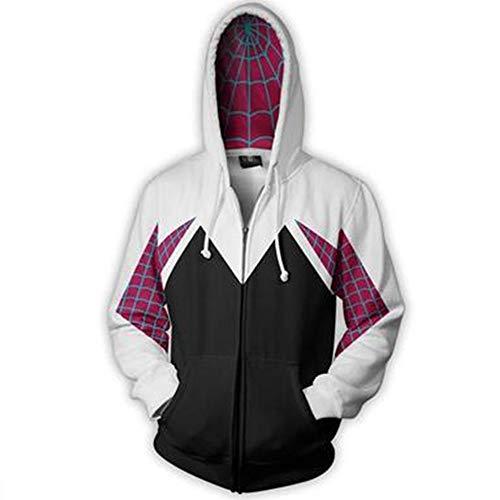 Superhero Unisex Gwen Stacy Iron Spider Hoodie Sweatshirt Kangaroo Pocket   Unisex for Men Women and Kids (White Zipper, M)