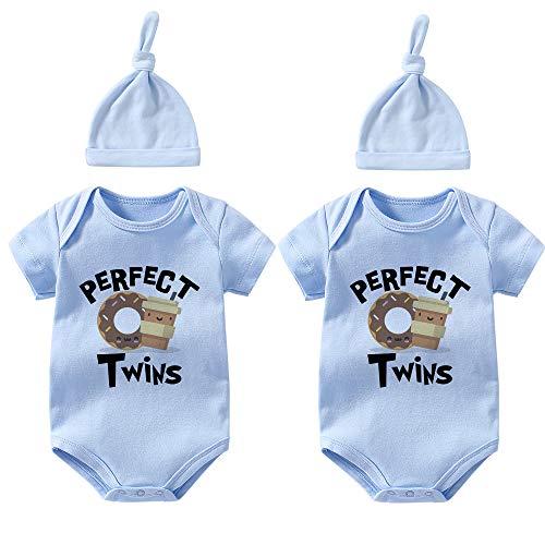 culbutomind Baby-Bodys für Zwillinge, Kaffee, Donuts, für Neugeborene Gr. 74, Blue S0 Coffee Donutset