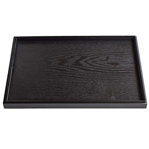 Vassoio in legno massello per snack caffè Vassoio da tè rettangolare in legno nero...