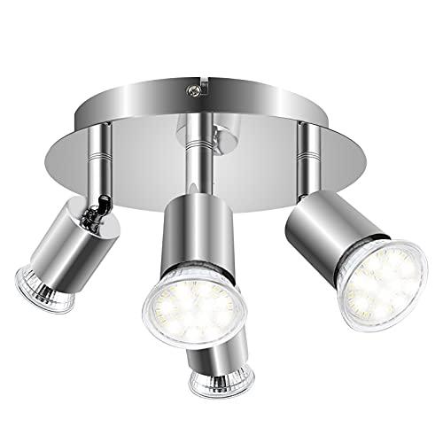 Klarlight Lámpara de techo con 4 Focos LED GU10, 360°Rotativo Lámpara Girante para Interiores Forma Redonda Cromada, Titular de Spotlight para Sala de Estar y Sala de Exposición (sin Bombillas GU10)