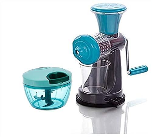 ( Manual Hand Juicer ) Juicer Mixer Blender   Juice Maker Machine for Home   Juicer Handy for Kitchen For Fruits & Vegetables (Multicolor) (Hand Juicer + 1 Chopper 450ml)