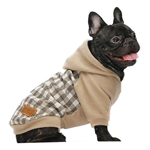 Fitwarm Knitted Pet Clothes Dog Sweater Hoodie Sweatshirts Pullover Cat Jackets Khaki XS