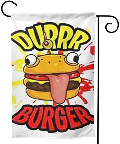 Home Garden New Dur Burger Decoration 28 'x40' Drapeau de Jardin Double Face, Blanc, 12.5 'x18'