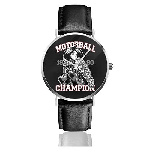 Unisex Business Casual Alita Battle Angel Motorrad Champion Uhren Quarz Leder Armbanduhr mit schwarzem Lederband für Männer Frauen Junge Kollektion Geschenk