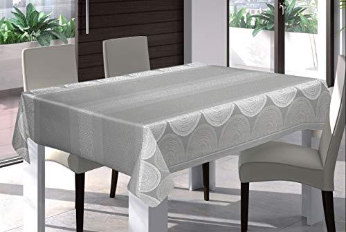 HuleHule Mantel PVC Antimanchas. Apariencia Mantelería Tela. Estampado Color Gris Plata. (140_x_200_cm)