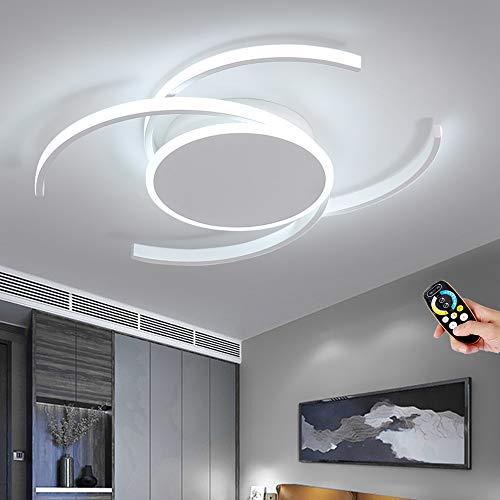 Plafón ronda anillo LED regulables con control remoto Brillo ajustable lámpara de techo de la Sala de estar moderna comedor dormitorio, 80W, 50CM, Pantalla de acrílico de aluminio de metal blanco