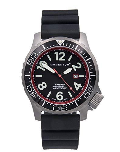 Reloj de buceo profesional Torpedo Blast Sapphire de Momentum Watches, color rojo, 1M-DV74RS1B, para hombre, 200 m, resistente al agua, acero inoxidable 316L, 5 años de duración