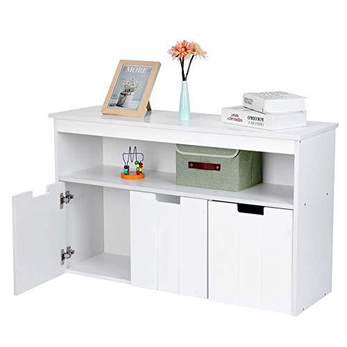 Kinderschrank Cabinet Organizer Aufbewahrungsbank für Kinder Holzkiste mit 3 Schubladen, 102x33x62cm Weiß