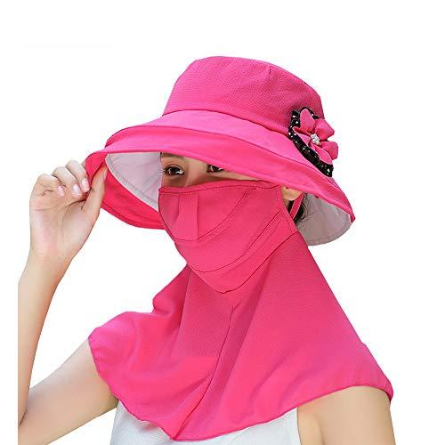 HANSHAN Estate delle Donne Anti-UV antinebbia Protezione Solare Cappello-Staccabile Flap Protezione Collo UPF-facciale Visiera Cappello Pieno-per Face Ciclismo Golf Pesca Corsa Jogging Camping
