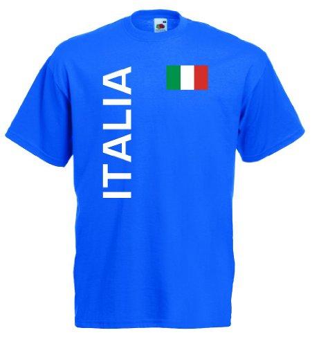 World-of-Shirt Italia/Italien Herren T-Shirt Trikot|royal L