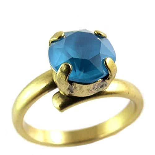 Lily-Crystal [Q2400 - Handgemachter Ring 'Tsarine' türkis Gold - 8 mm.