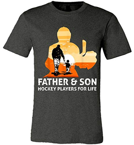 Reality Stone Cool Father & Son Hockey Players for Life Gift Father's Day T-Shirt Dad Gift Dark Grey Heather